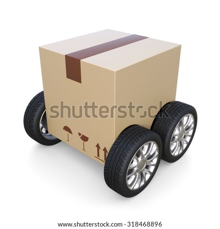 package on wheel - shipment concept - stock photo