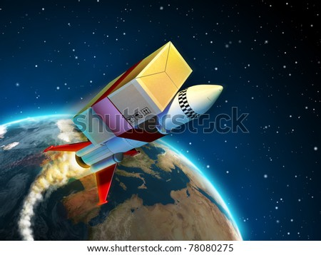Package tied to a rocket flying to its destination. Digital illustration. - stock photo