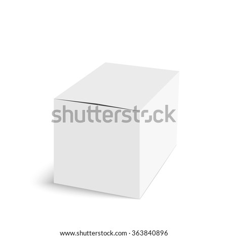 Package white box on a white background.  Realistic 3d blank for perfume, Software, electronic device, tea box and other products. - stock photo