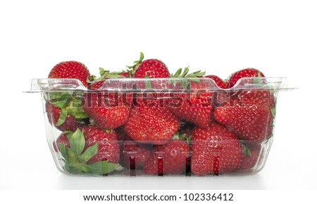 Packaged Strawberries - stock photo