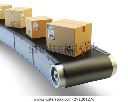 Packages delivery and mail service shipment concept, purchases transportation system, cardboard boxes on conveyor belt isolated on white background - stock photo