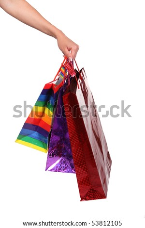 Packages for shopping in a female hand