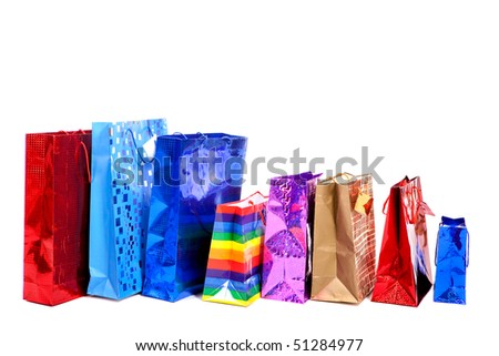 Packages for shopping isolated on white background - stock photo