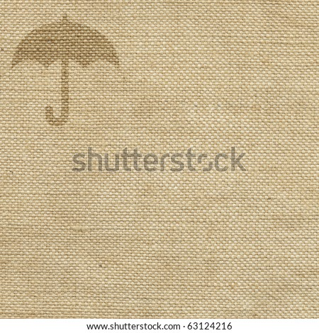 Packaging symbol umbrella on the fabric