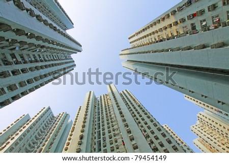Packed Hong Kong housing - stock photo
