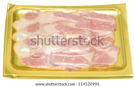 packed meat isolated on white - stock photo