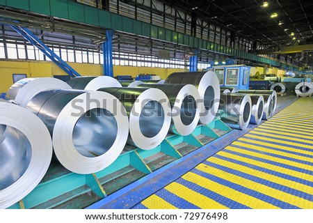 packed rolls of steel sheet, Cold rolled steel coils - stock photo