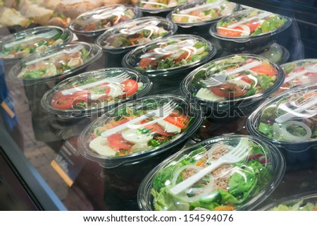 packed salads - stock photo