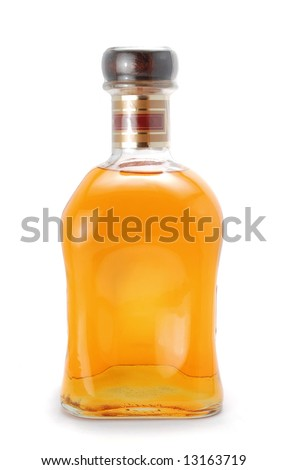 Packed whiskey bottle isolated over a whte background