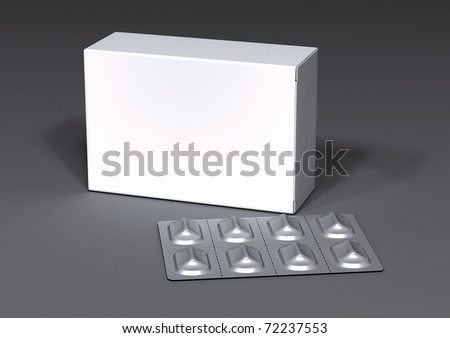 packing and blister on a gray background - stock photo