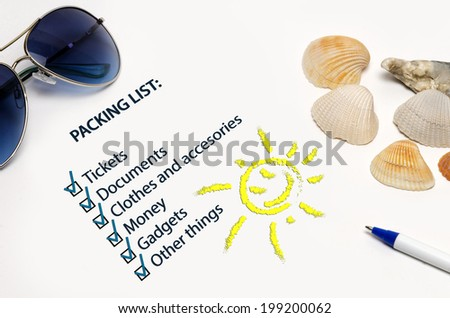Packing list - stock photo