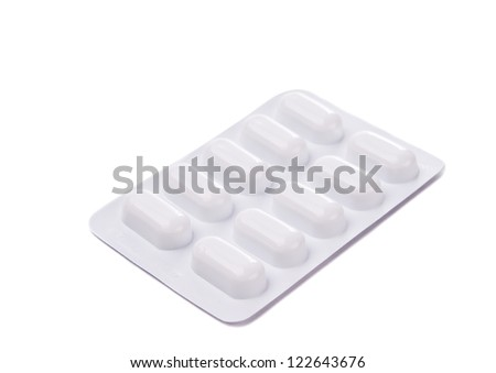 Packing pills isolated on white background - stock photo