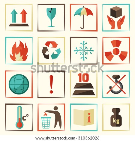 Packing symbols delivery and shipping protect icons set isolated  illustration