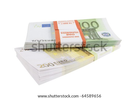 Packs of banknotes of euro on a white background - stock photo