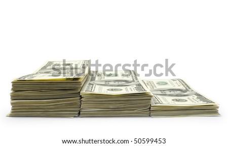 Packs of dollars isolated  on white background - stock photo