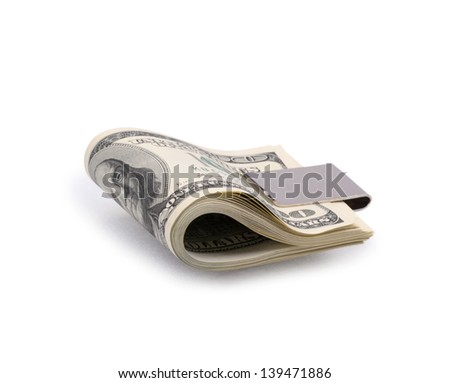 packs of dollars with clip isolated on a white background - stock photo
