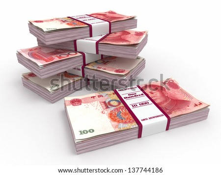 Packs of yuan on white background. 3d
