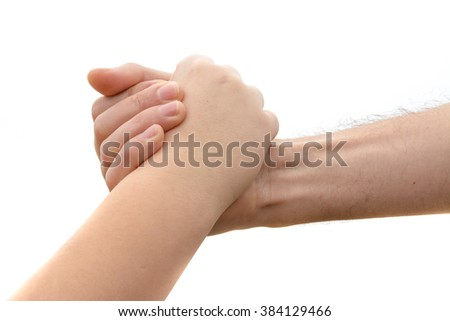 Pact between a youth and an adult with a handshake