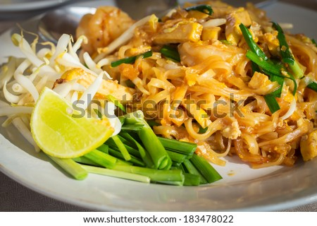 Pad Thai,fried noodle with tofu. - stock photo