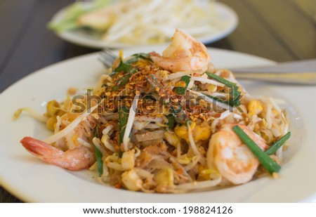Pad thai- stir-fried  noodles . Thailand's national dishes - stock photo