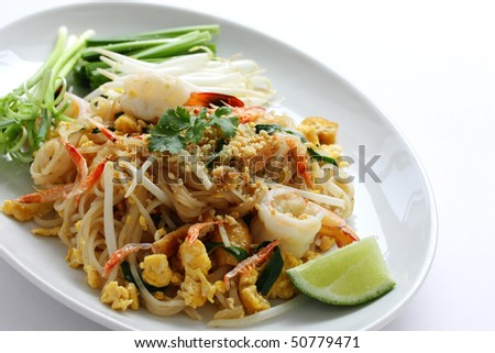 Pad thai, Stir fry noodles  with shrimp