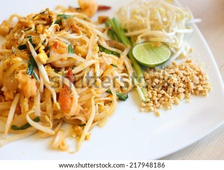 pad thai, stir thailand traditional of thai food - stock photo