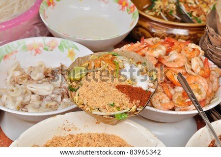 Pad thai with ingredient, Stir fly noodles with shrimp, fried no - stock photo