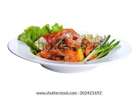 Pad Thai with shrimp, Thai noodle style - stock photo