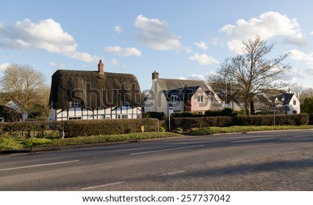 PADBURY, ENGLAND - 3RD MARCH 2015: The outside of old style buildings during the day - stock photo