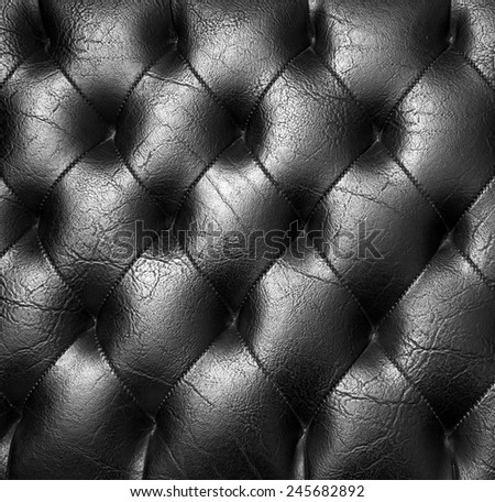 Padded black genuine leather textured pattern background. - stock photo