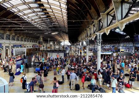 Paddington Train Station, London, England - 8 August 2014 : Paddington Station is one of London's busiest and most important rail transport hubs.  - stock photo