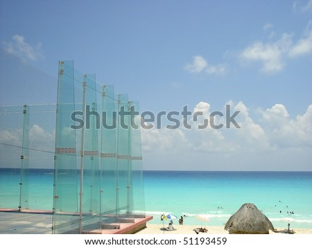 Paddle sport glass field from Caribbean sea Cancun Mexico
