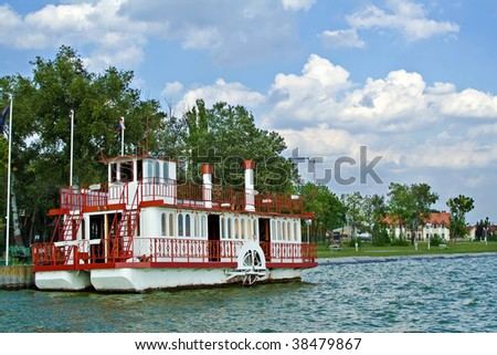 Paddle steamer at lake Palic, Serbia - stock photo