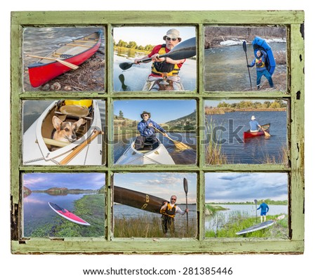 paddling vacation or recreation  concept - paddling kayak, canoe, SUP and packraft through vintage window, all pictures copyright by the photographer with the same model (self) - stock photo