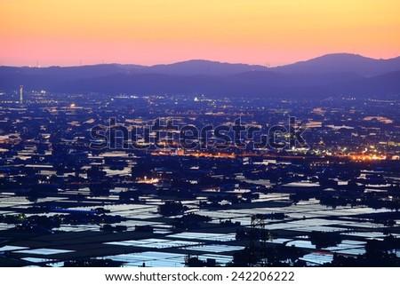 Paddy field at twilight, Nanto city, Toyama, Japan - stock photo