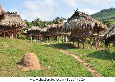 Paddy hut in Laos - stock photo