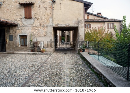 Padengha Sul Garda castle on Garda lake - stock photo