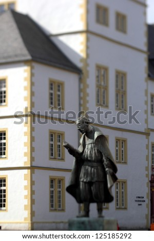 PADERBORN, GERMANY -  DECEMBER 08: statue of friedrich von spee, german jesuit and poet,who was an opponent of trials for witchcraft, December 08, 2012 in Paderborn, Germany - stock photo