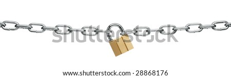 padlock and chain isolated on white background - stock photo