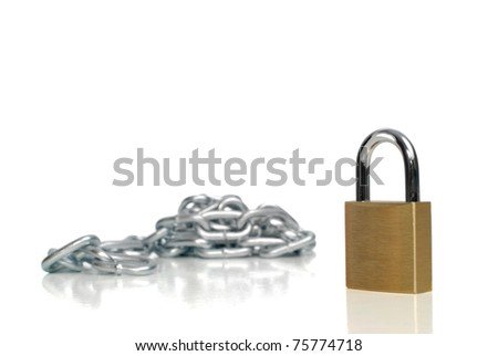 Padlock and chains isolated on white background. - stock photo