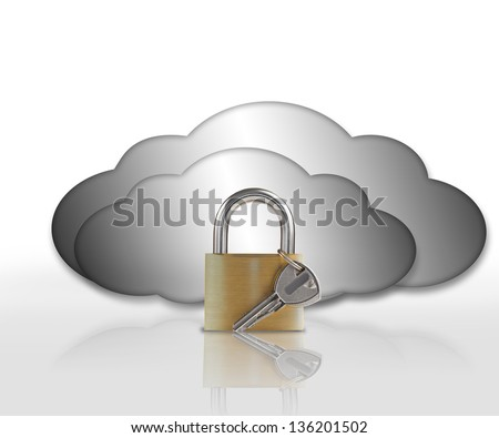 Padlock and grey clouds against white background