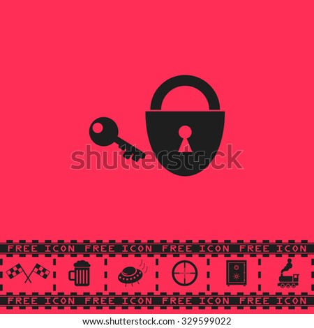 Padlock and key. Black flat illustration pictogram and bonus icon - Racing flag, Beer mug, Ufo fly, Sniper sight, Safe, Train on pink background - stock photo