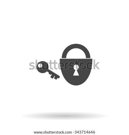 Padlock and key. Flat icon on grey background with shadow - stock photo