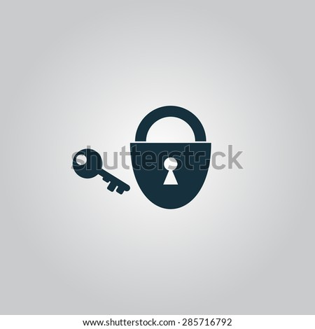 Padlock and key. Flat web icon or sign isolated on grey background. Collection modern trend concept design style illustration symbol - stock photo