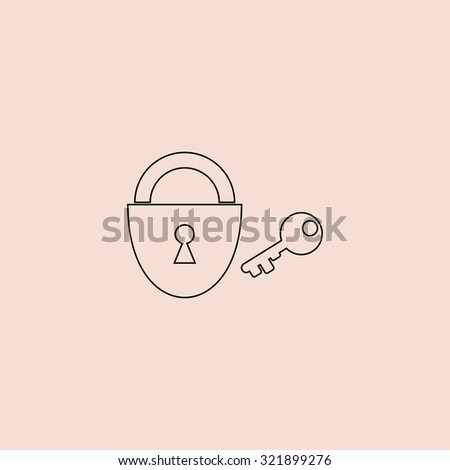 Padlock and key. Outline icon. Simple flat pictogram on pink background - stock photo