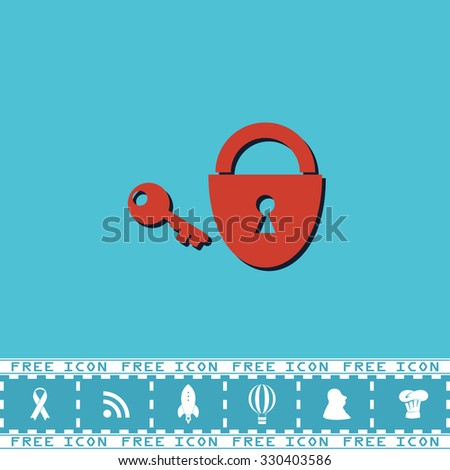 Padlock and key. Red flat symbol with dark shadow and bonus icon. Simple illustration pictogram on blue background - stock photo