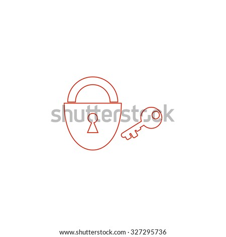 Padlock and key. Red outline illustration pictogram on white background. Flat simple icon - stock photo