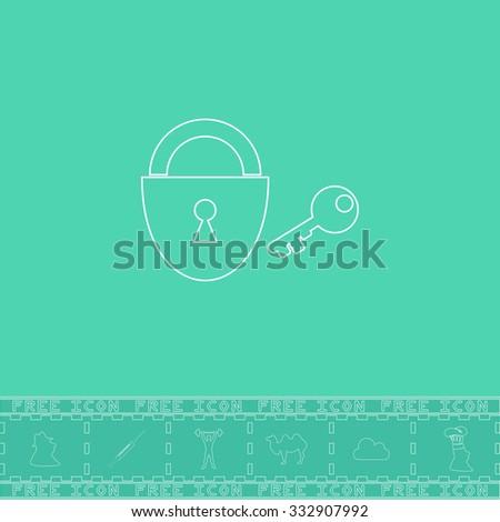 Padlock and key. White outline flat icon and bonus symbol. Simple illustration pictogram on green background - stock photo