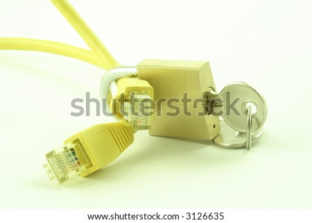 Padlock and key with computer cables