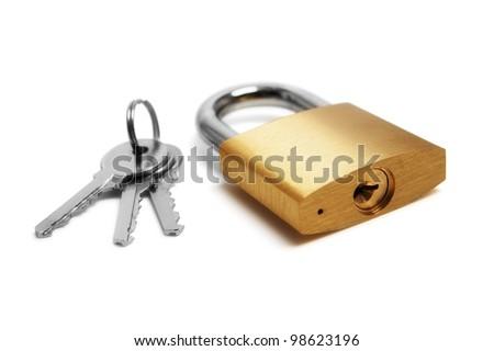 padlock and keys - stock photo